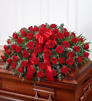 Red Rose Half Casket Cover