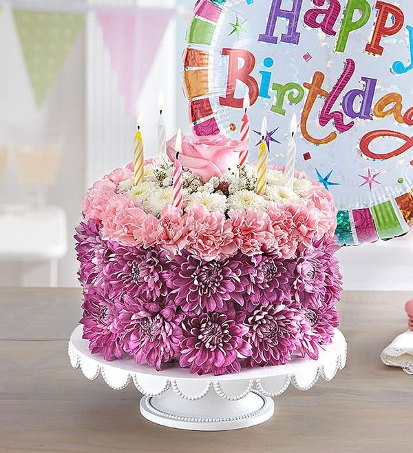 Birthday Wishes Flower Cake® Pastel