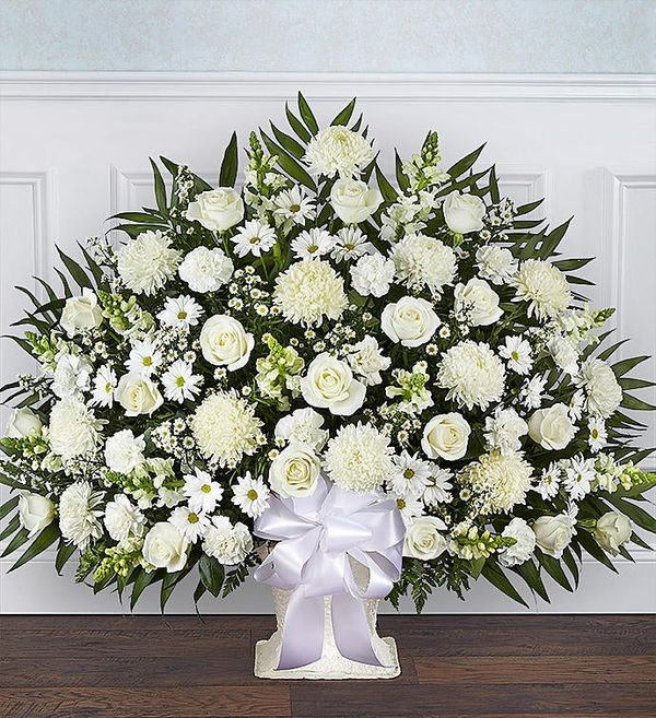 Heartfelt Tribute™ White Floor Basket Arrangement