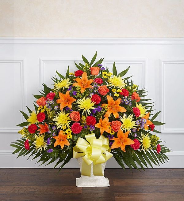 Heartfelt Tribute™ Bright Floor Basket Arrangement