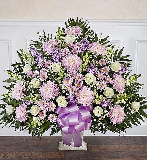 Heartfelt Tribute™ Lavender & White Floor Basket Arrangement